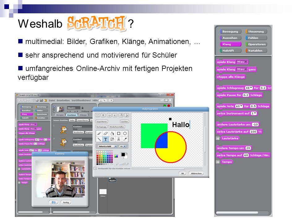 Weshalb Scratch multimedial: Bilder, Grafiken, Klänge, Animationen, ... sehr ansprechend und motivierend für Schüler.