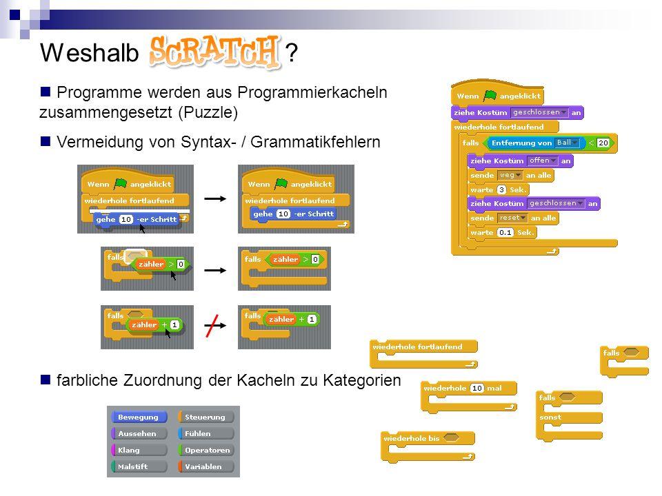 Weshalb Scratch Programme werden aus Programmierkacheln zusammengesetzt (Puzzle) Vermeidung von Syntax- / Grammatikfehlern.
