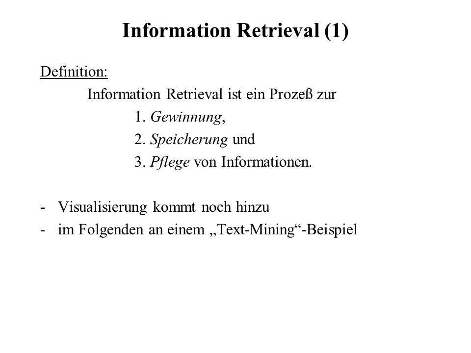 Information Retrieval (1)