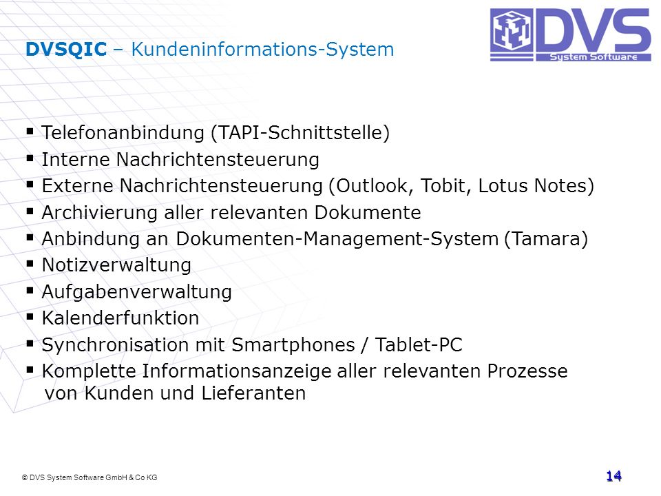 DVSQIC – Kundeninformations-System