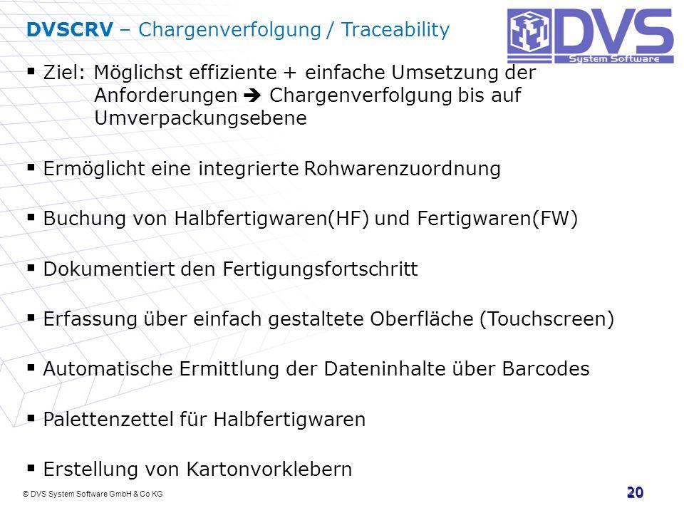 DVSCRV – Chargenverfolgung / Traceability
