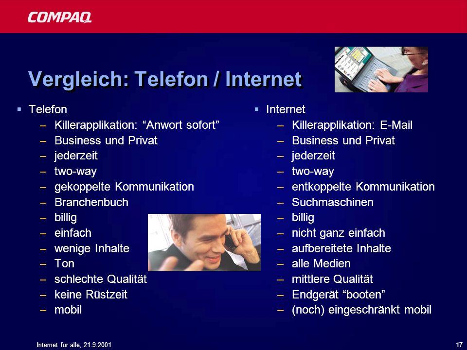 Vergleich: Telefon / Internet