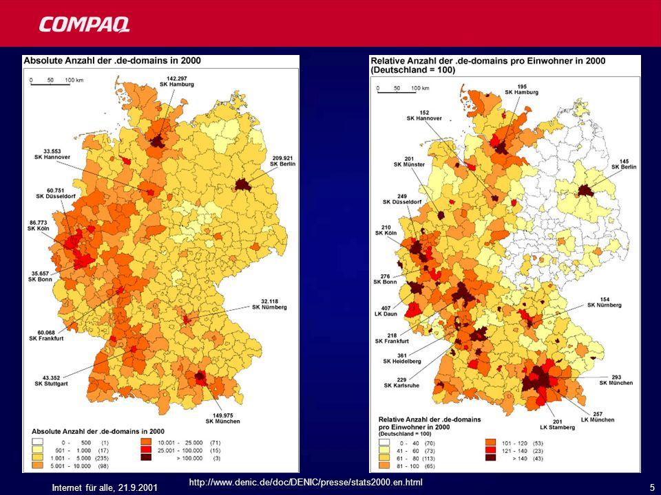 http://www.denic.de/doc/DENIC/presse/stats2000.en.html Internet für alle, 21.9.2001