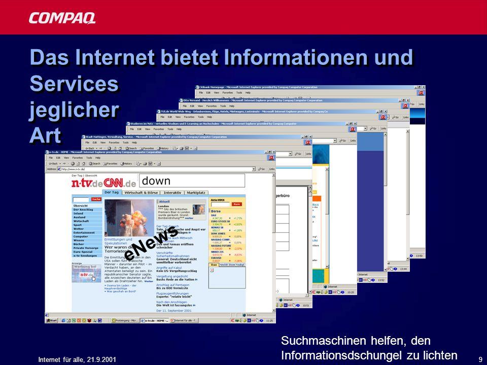 Das Internet bietet Informationen und Services jeglicher Art