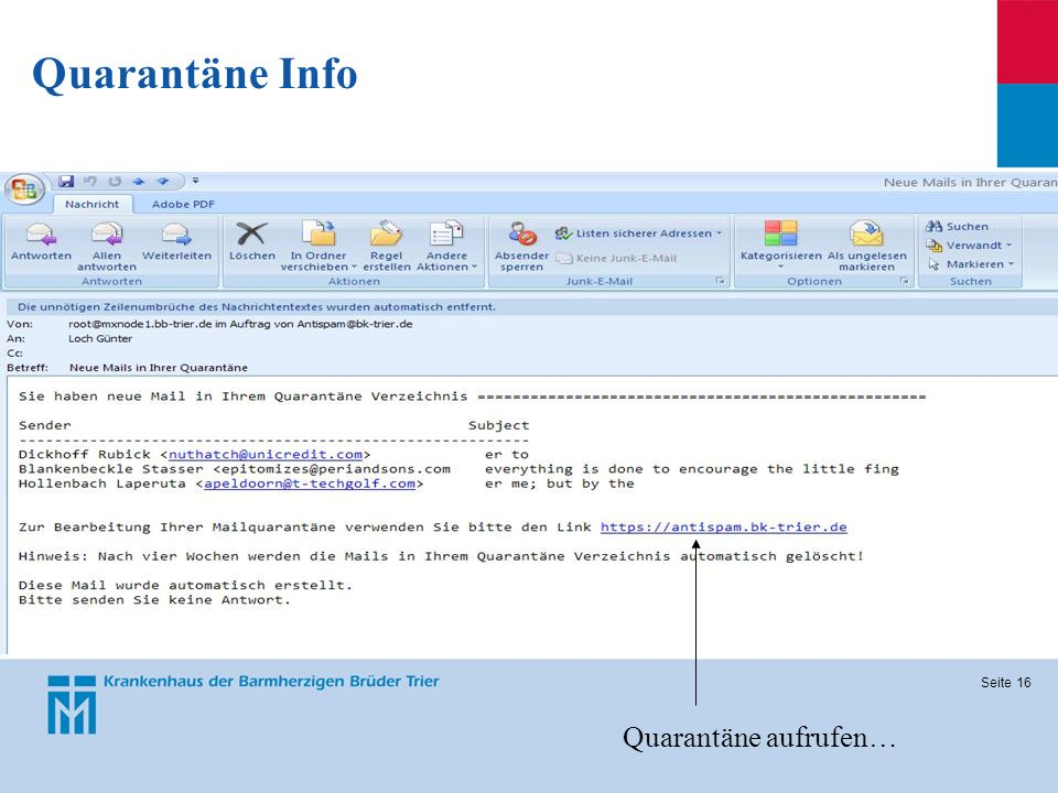 Quarantäne Info Quarantäne aufrufen…