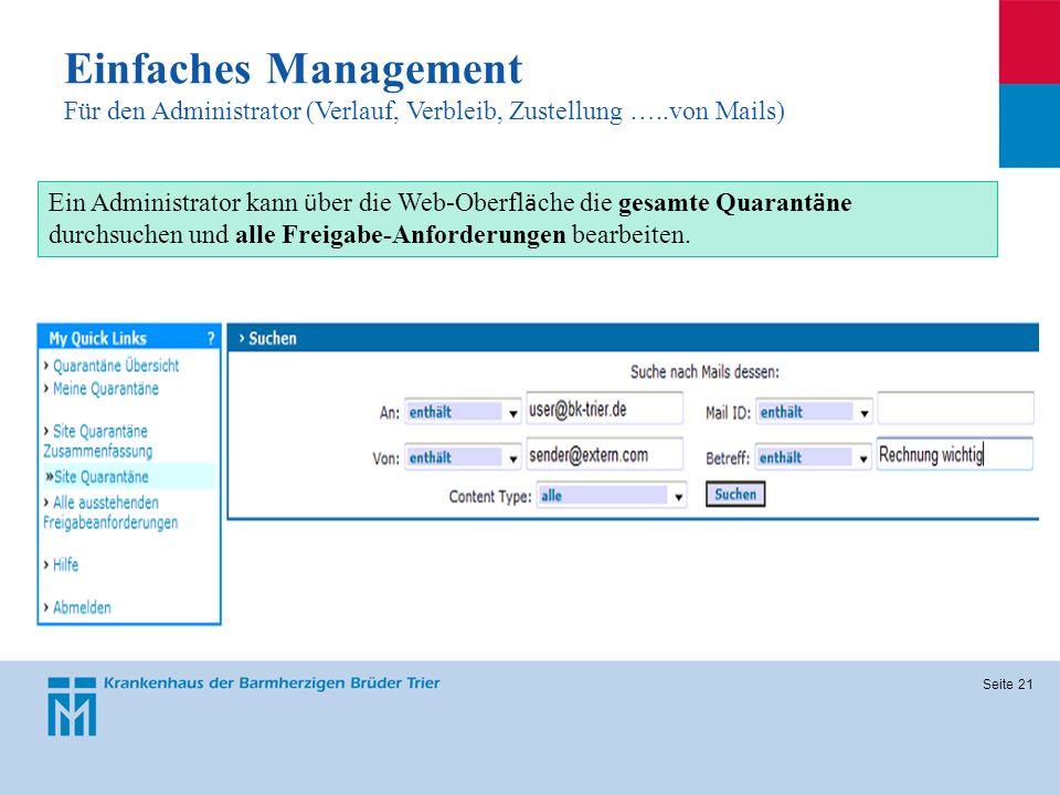 Einfaches Management Für den Administrator (Verlauf, Verbleib, Zustellung …..von Mails)