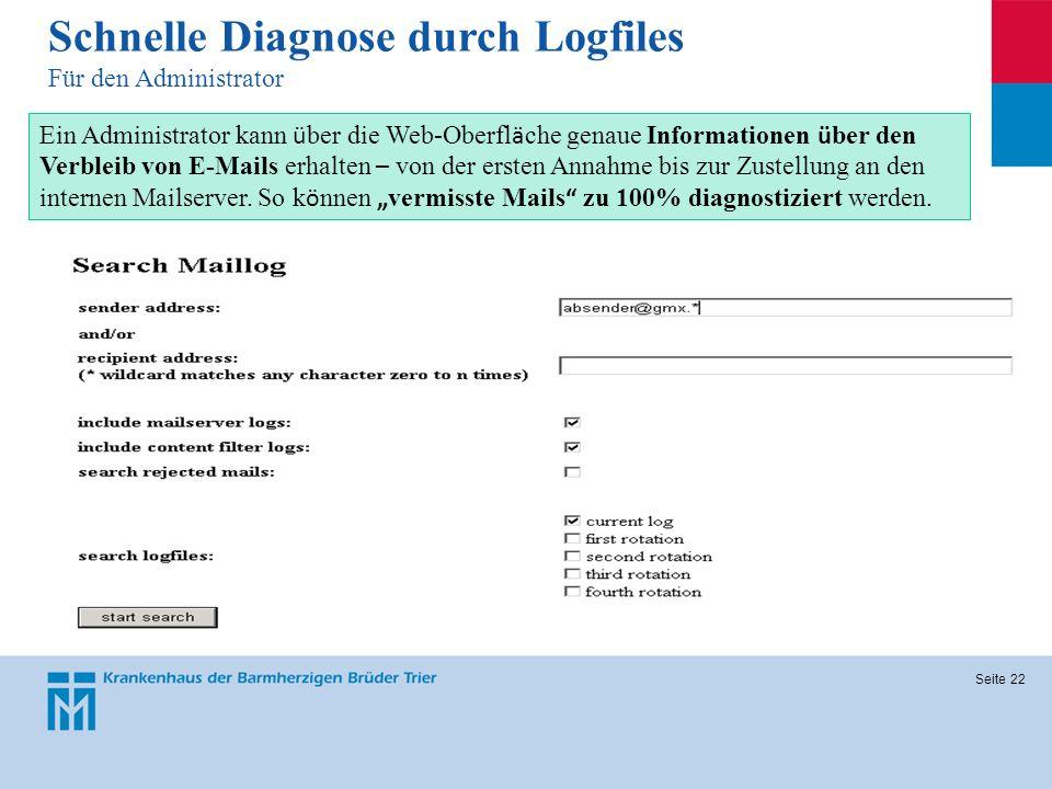Schnelle Diagnose durch Logfiles Für den Administrator