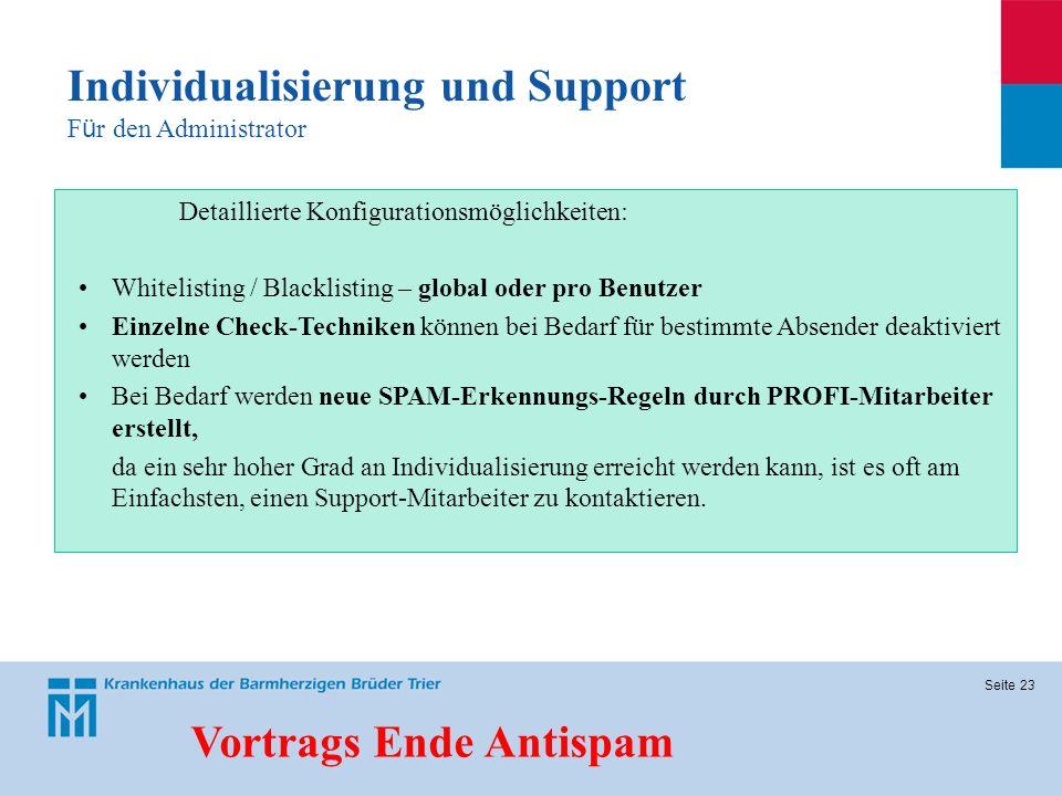 Individualisierung und Support