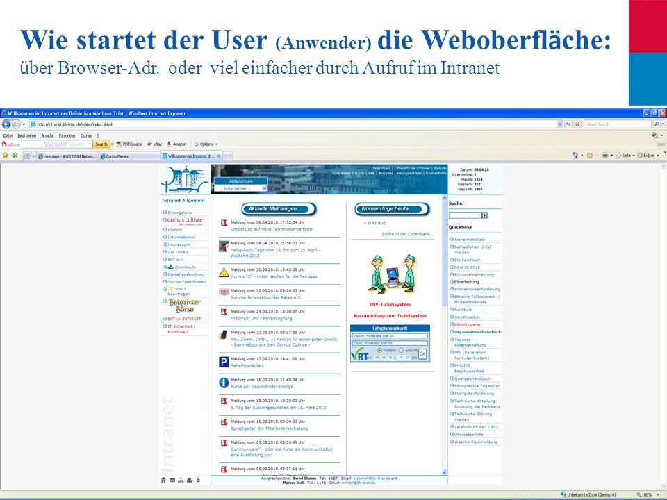 Wie startet der User (Anwender) die Weboberfläche: