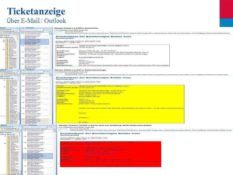 Ticketanzeige Über E-Mail / Outlook
