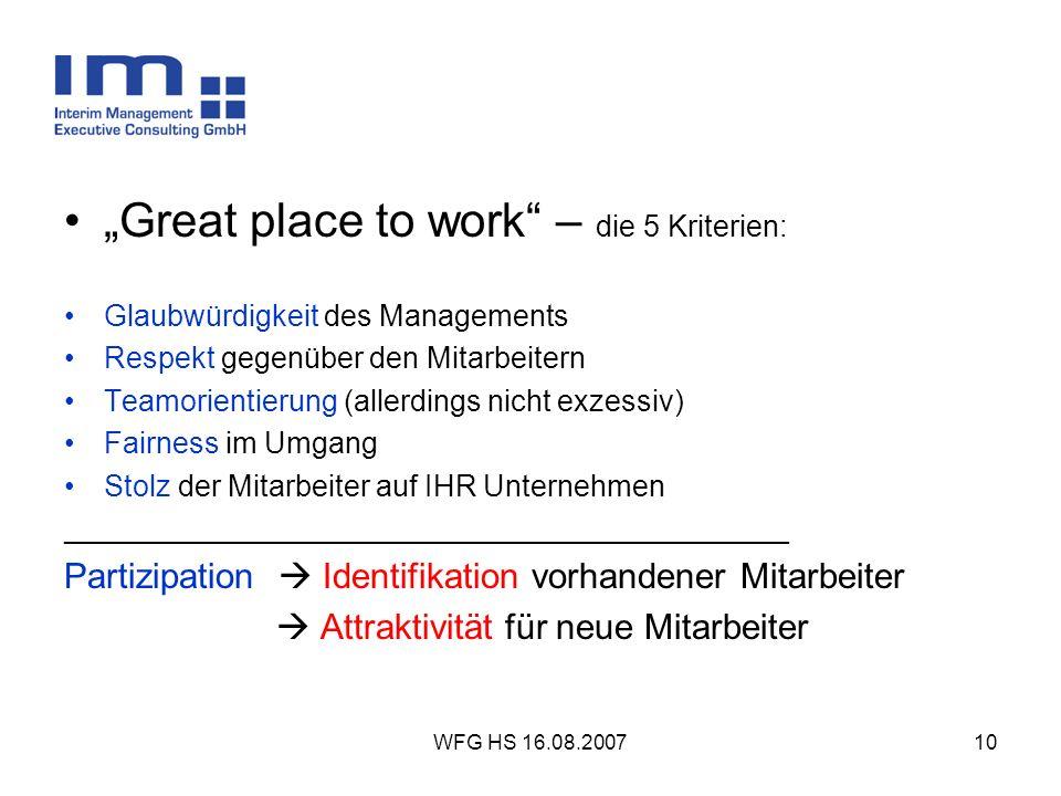 """Great place to work – die 5 Kriterien:"
