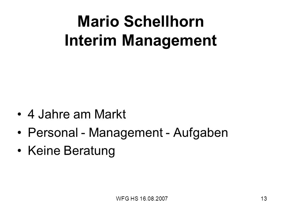 Mario Schellhorn Interim Management