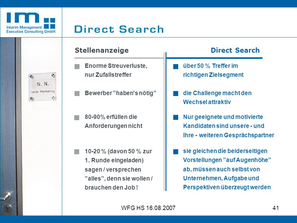 Stellenanzeige Direct Search