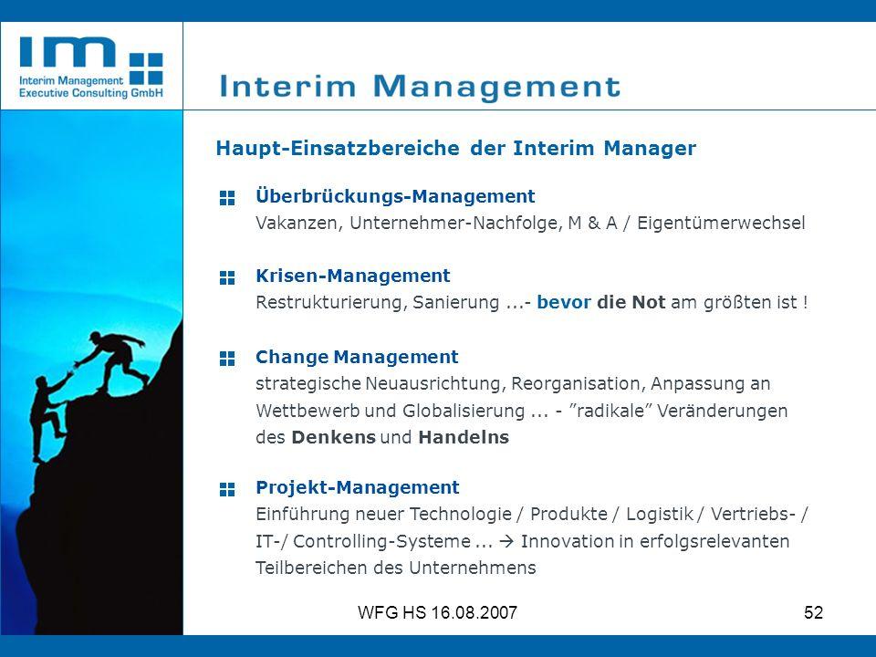 Haupt-Einsatzbereiche der Interim Manager
