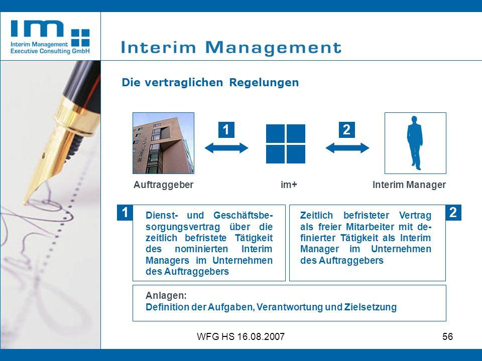 1 2 1 2 Die vertraglichen Regelungen Auftraggeber Interim Manager im+