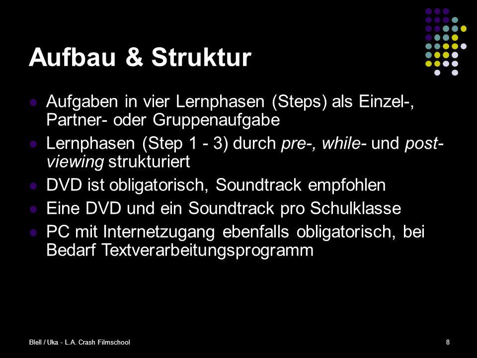 Aufbau & Struktur Aufgaben in vier Lernphasen (Steps) als Einzel-, Partner- oder Gruppenaufgabe.