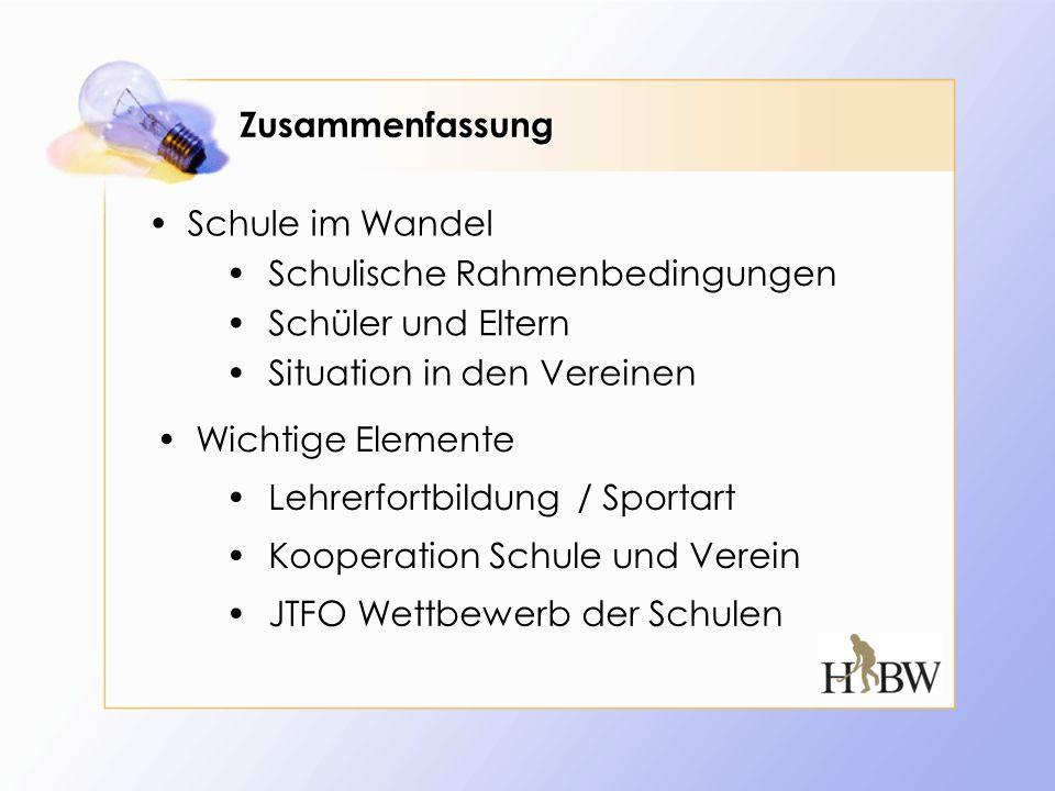 Zusammenfassung Schule im Wandel. Schulische Rahmenbedingungen. Schüler und Eltern. Situation in den Vereinen.