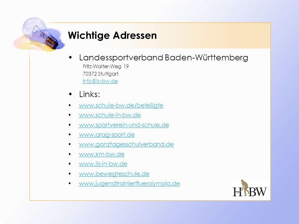 Wichtige Adressen Landessportverband Baden-Württemberg Links: