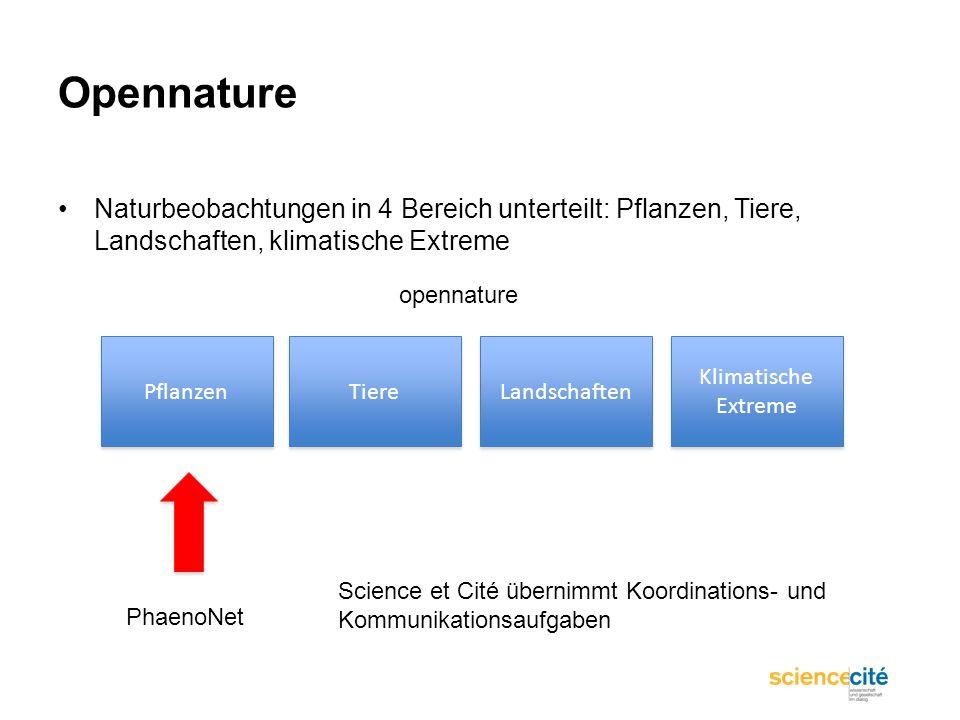 OpennatureNaturbeobachtungen in 4 Bereich unterteilt: Pflanzen, Tiere, Landschaften, klimatische Extreme.