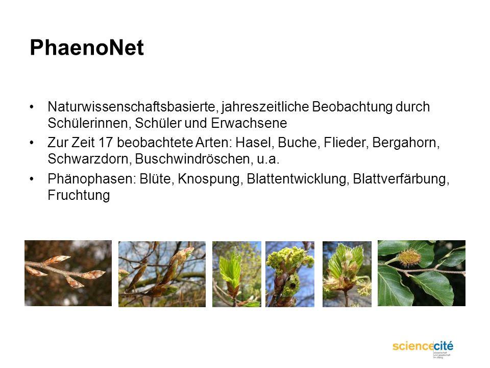 PhaenoNet Naturwissenschaftsbasierte, jahreszeitliche Beobachtung durch Schülerinnen, Schüler und Erwachsene.