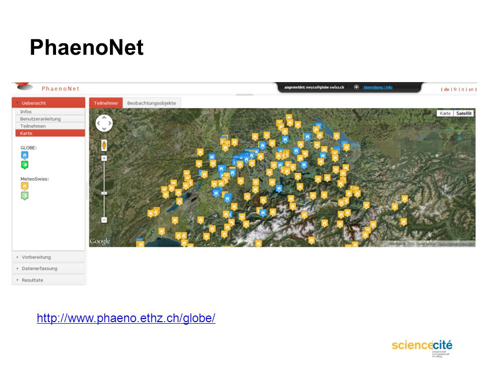 PhaenoNet http://www.phaeno.ethz.ch/globe/