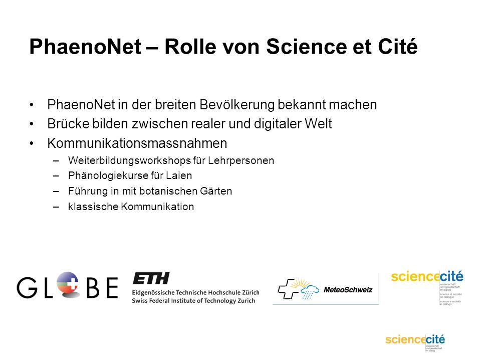 PhaenoNet – Rolle von Science et Cité