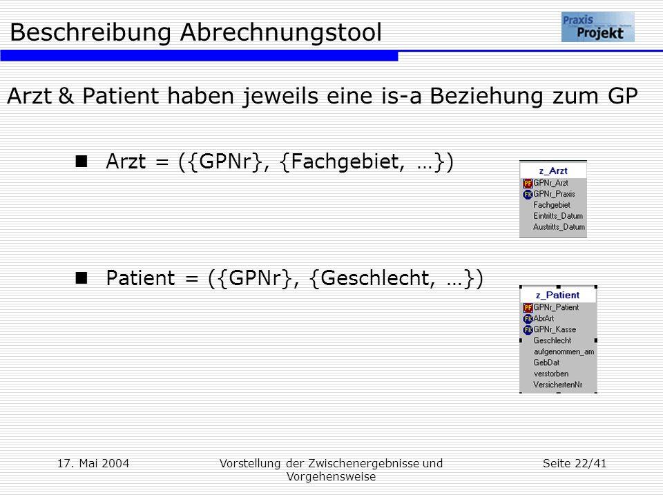 Arzt & Patient haben jeweils eine is-a Beziehung zum GP