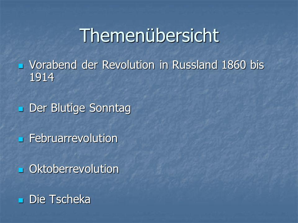 Themenübersicht Vorabend der Revolution in Russland 1860 bis 1914