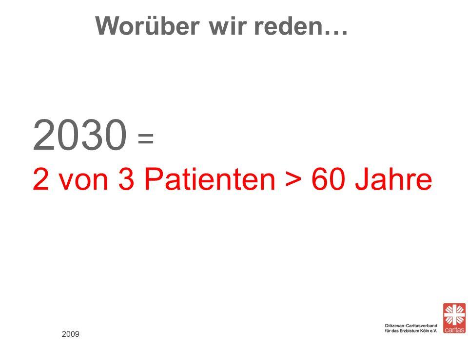 Worüber wir reden… 2030 = 2 von 3 Patienten > 60 Jahre 2009 2
