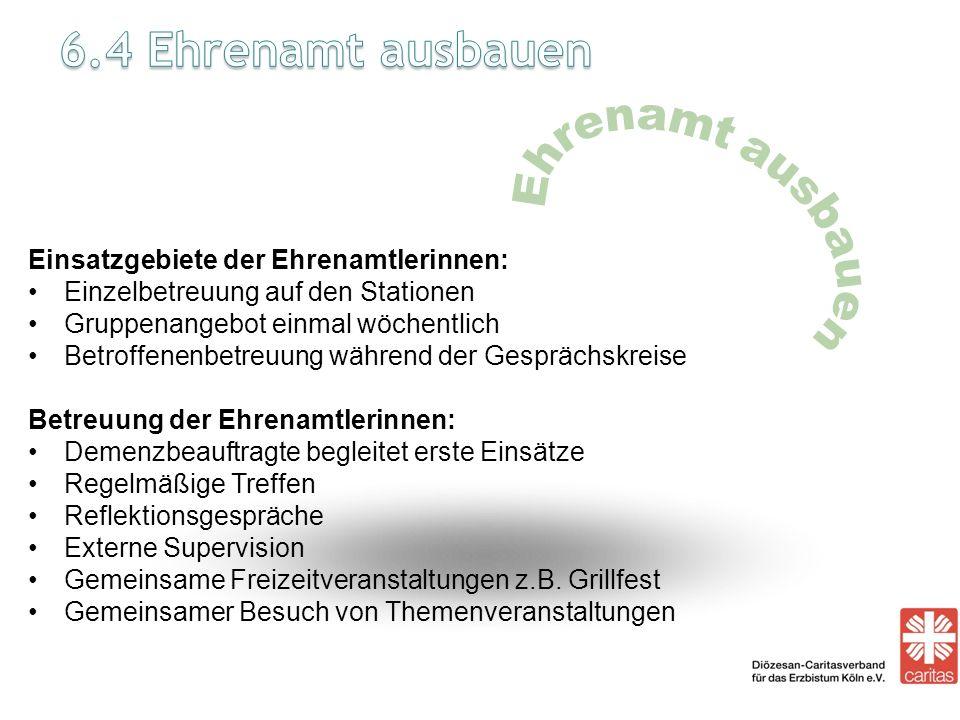 6.4 Ehrenamt ausbauen Einsatzgebiete der Ehrenamtlerinnen: