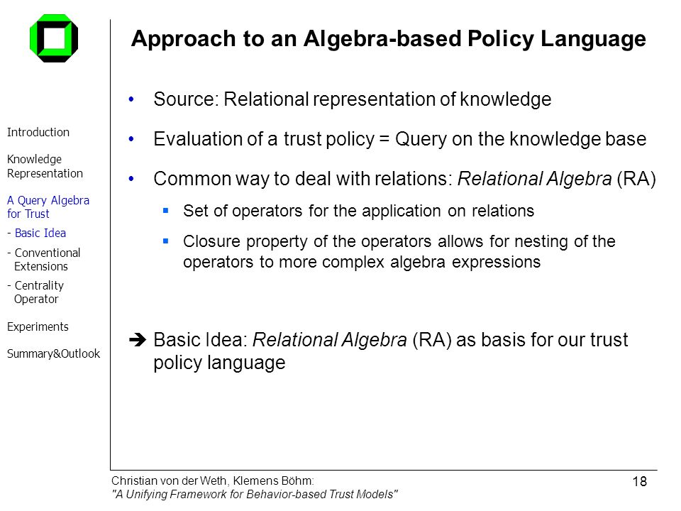 Approach to an Algebra-based Policy Language