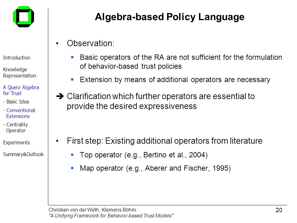 Algebra-based Policy Language