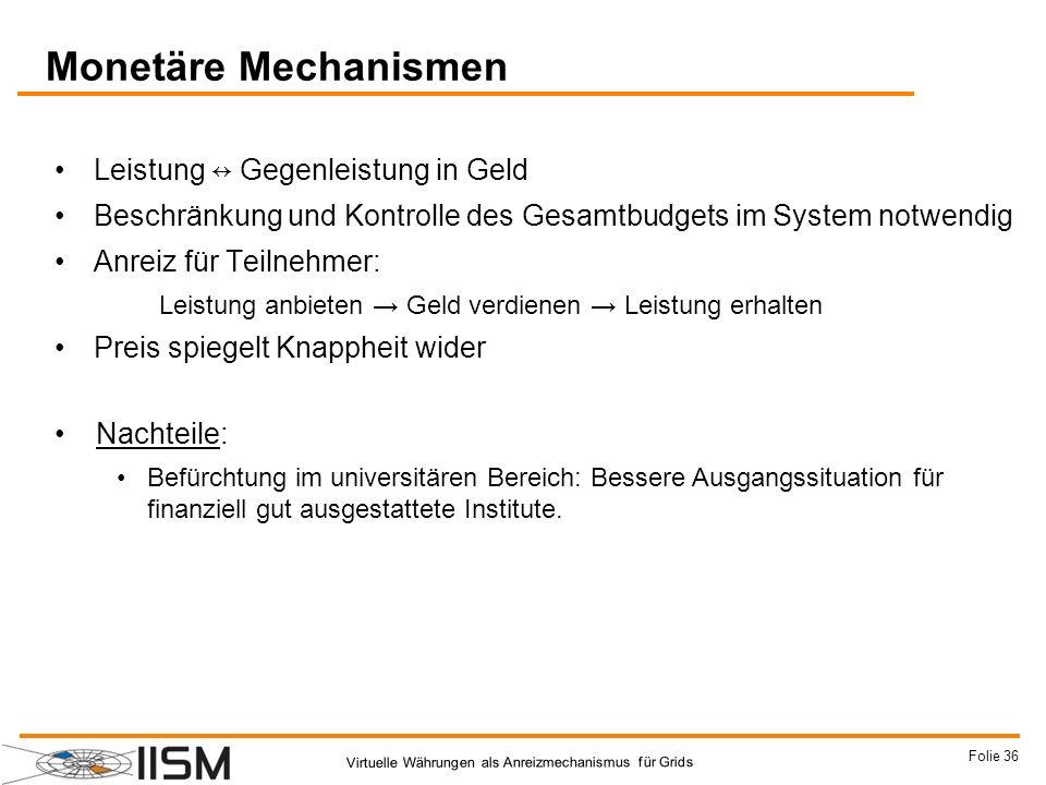 Monetäre Mechanismen Leistung ↔ Gegenleistung in Geld