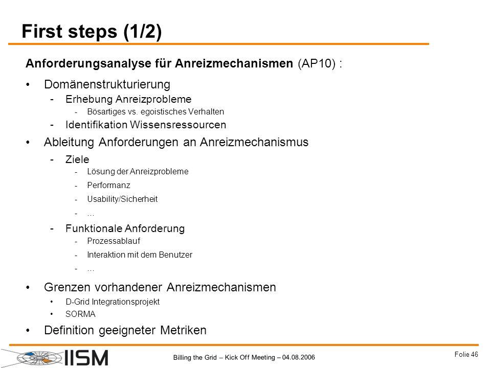 First steps (1/2) Anforderungsanalyse für Anreizmechanismen (AP10) :