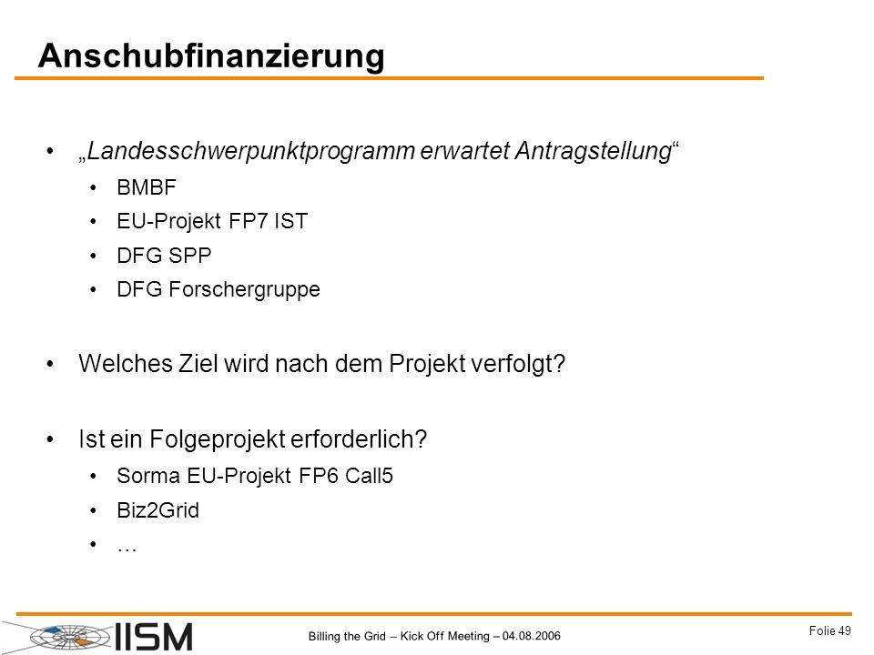 """Anschubfinanzierung""""Landesschwerpunktprogramm erwartet Antragstellung BMBF. EU-Projekt FP7 IST. DFG SPP."""