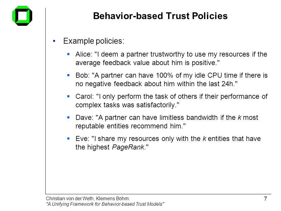 Behavior-based Trust Policies