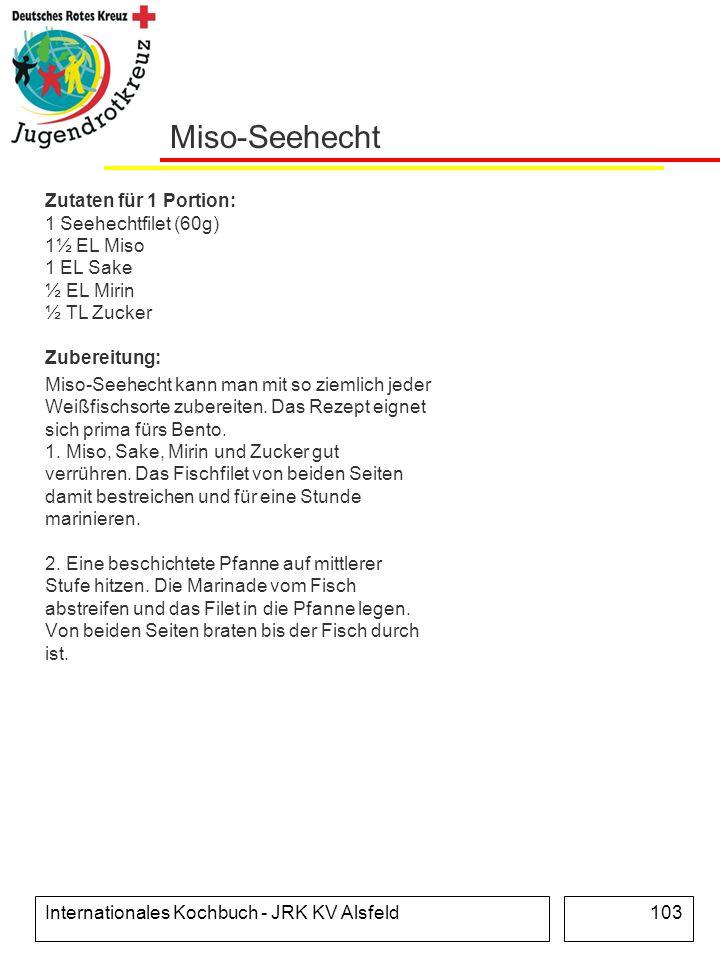 Miso-Seehecht Zutaten für 1 Portion: 1 Seehechtfilet (60g) 1½ EL Miso 1 EL Sake ½ EL Mirin ½ TL Zucker Zubereitung: