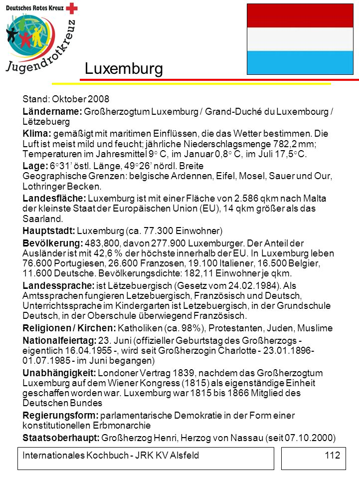 Luxemburg Stand: Oktober 2008