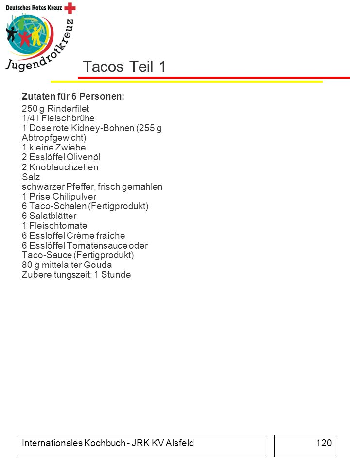 Tacos Teil 1 Zutaten für 6 Personen: