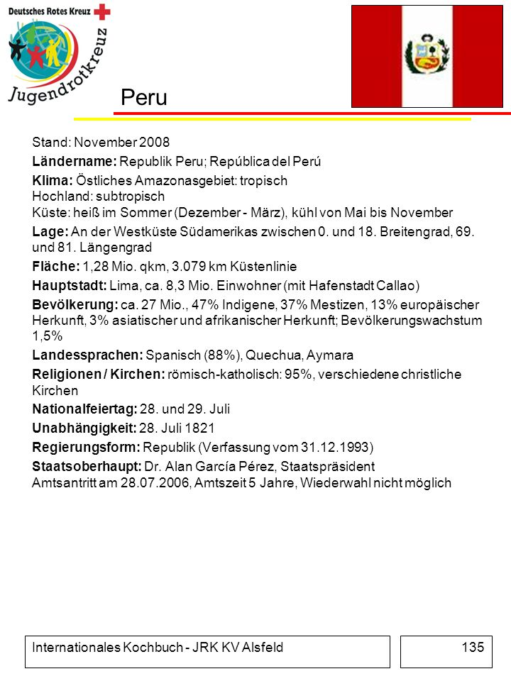 Peru Stand: November 2008. Ländername: Republik Peru; República del Perú.