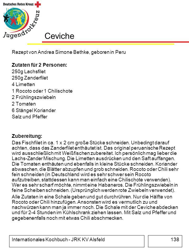 Ceviche Rezept von Andrea Simone Bethke, geboren in Peru