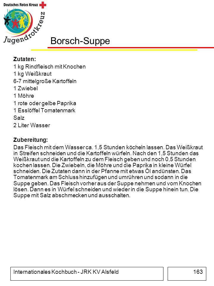 Borsch-Suppe Zutaten: 1 kg Rindfleisch mit Knochen 1 kg Weißkraut