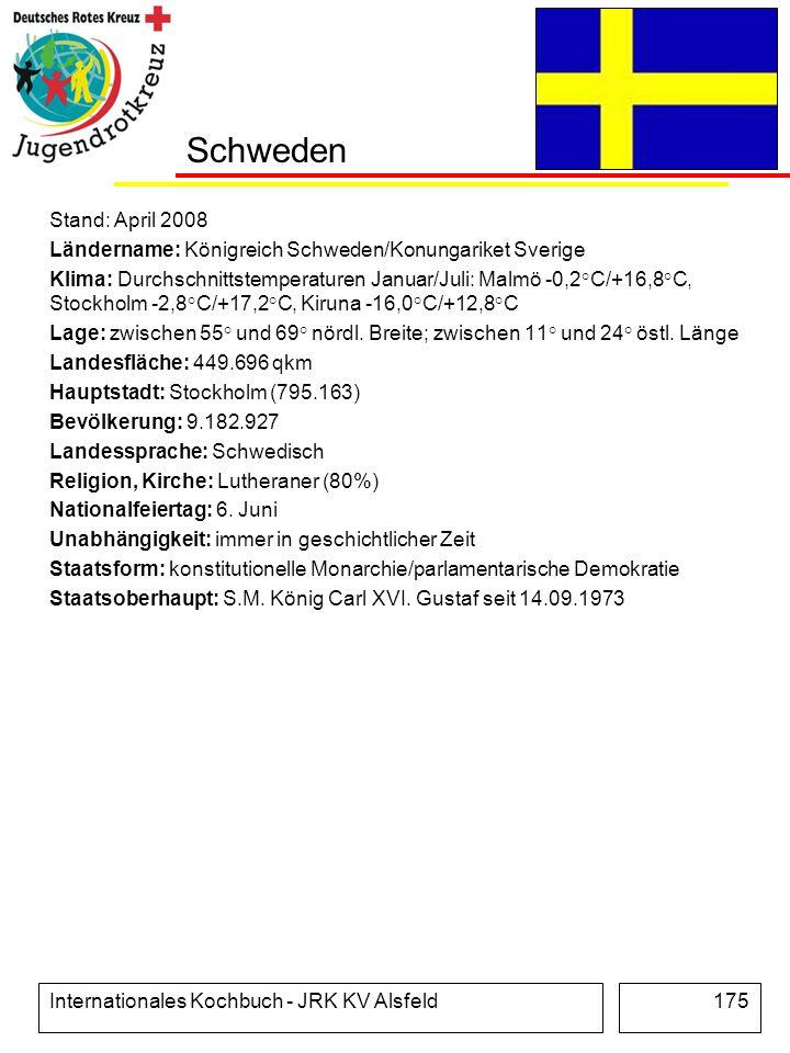 Schweden Stand: April 2008. Ländername: Königreich Schweden/Konungariket Sverige.