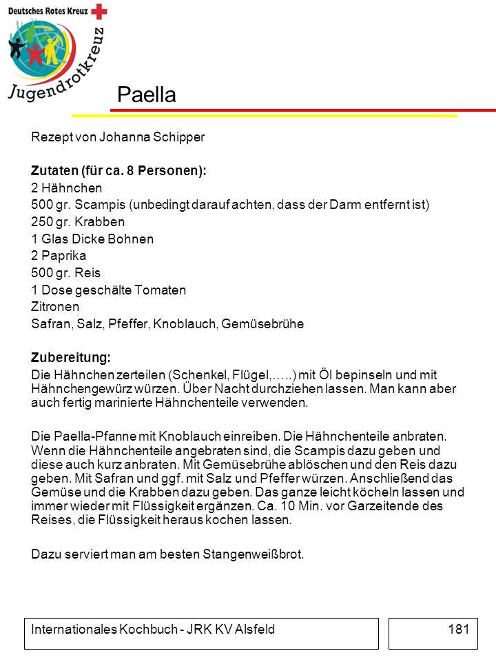 Paella Rezept von Johanna Schipper Zutaten (für ca. 8 Personen):
