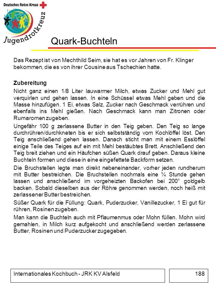 Quark-Buchteln Das Rezept ist von Mechthild Seim, sie hat es vor Jahren von Fr. Klinger bekommen, die es von ihrer Cousine aus Tschechien hatte.