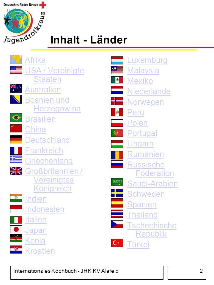 Inhalt - Länder Afrika USA / Vereinigte Staaten Australien