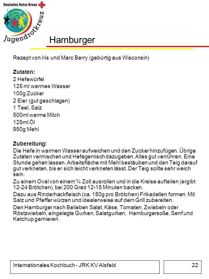 Hamburger Rezept von Iris und Marc Berry (gebürtig aus Wisconsin)