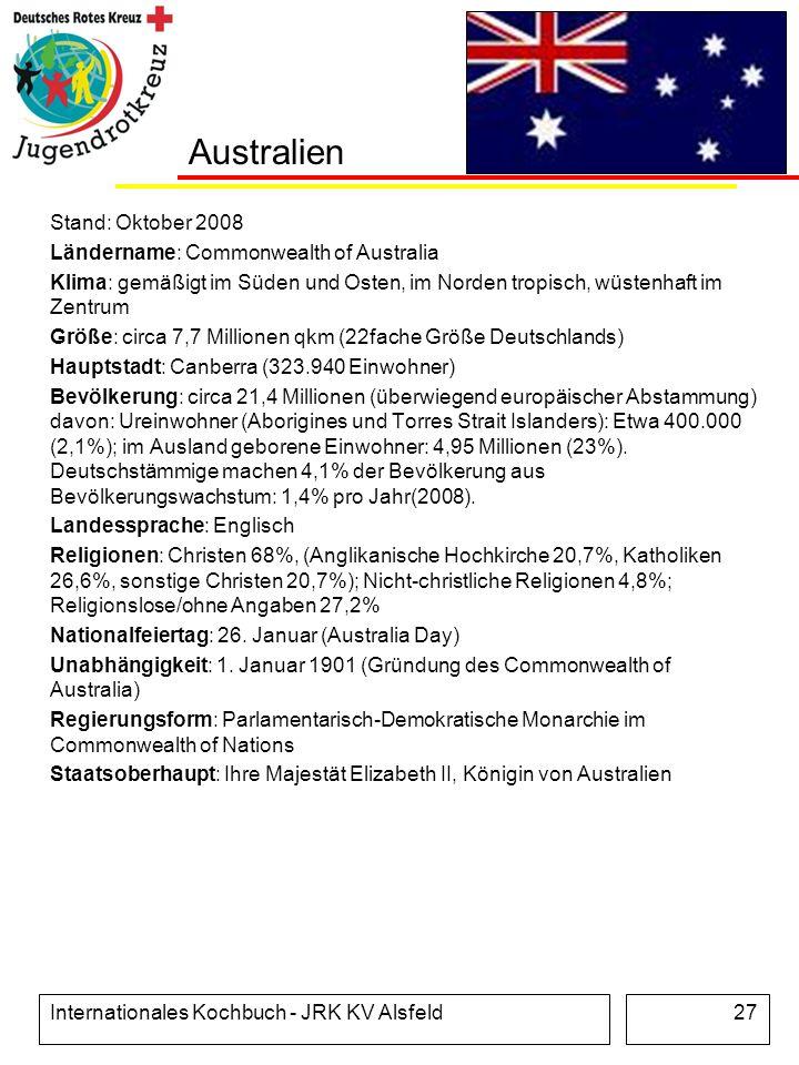 Australien Stand: Oktober 2008 Ländername: Commonwealth of Australia