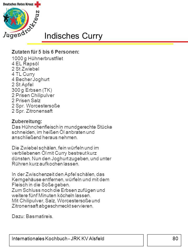 Indisches Curry Zutaten für 5 bis 6 Personen: