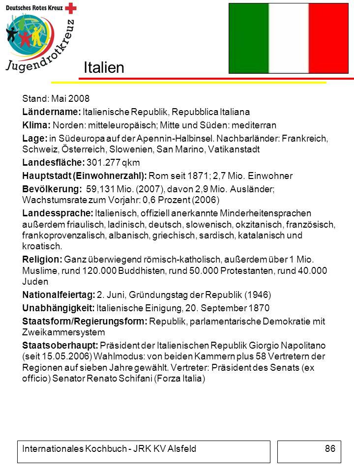 Italien Stand: Mai 2008. Ländername: Italienische Republik, Repubblica Italiana. Klima: Norden: mitteleuropäisch; Mitte und Süden: mediterran.